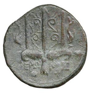 reverse: Sicily, Syracuse. Hieron II (275-215 BC). Bronze. 6.70 gr. – 19.2 mm .O:\ Diademed head of Poseidon left. R:\ IEPΩNOΣ, Ornate trident head, flanked by two dolphins. SNG ANS 964. XF+