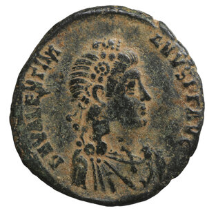 obverse: VALENTINIANUS II. 375-392 AD. Maiorina. Antioch. 4.70 gr. – 22.3 mm. O:\ D N VALENTINIANVS P F AVG. Rosette-diademed, draped and cuirassed bust right. R:\ VIRTVS EXERCITI / ANT A. Valentinian standing right, holding labarum in right and globe in left, foot on captive. RIC 63b. XF+