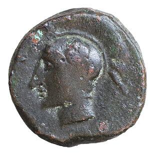 obverse: Sicily. Kamarina. Ca. 420-405 BC. AE tetras. 3.90 gr. – 14.5 mm. O:\ Head of Athena wearing crested Attic helmet left. R:\ KAMA, owl standing left, head facing, lizard and N to right, three pellets in exergue. Calciati 38. Westermark-Jenkins Kamarina 203. XF