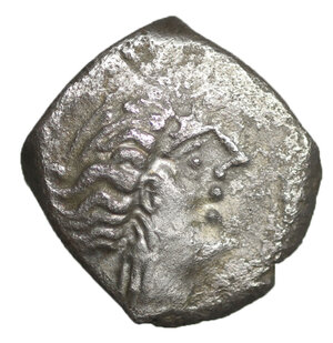 obverse: Cisalpine Gaul, Insubres. Silver Drachm.  Imitating Massalia. 2nd century BC. 2,26 gr. – 14.6 mm. O:\ Female head right. R:\ Lion standing right. BMC 3-6; Pautasso 435-457. Rare. VF\XF