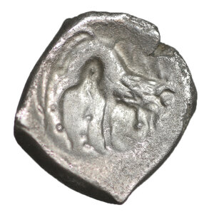 reverse: Cisalpine Gaul, Insubres. Silver Drachm.  Imitating Massalia. 2nd century BC. 2,26 gr. – 14.6 mm. O:\ Female head right. R:\ Lion standing right. BMC 3-6; Pautasso 435-457. Rare. VF\XF