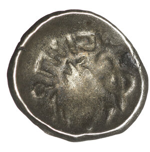 reverse: ARABIA. Southern. Himyar.  Amdān Bayān Yahaqbiḍ. 100-120 AD. AR Fraction. 8.5 mm -0.40 g, 8h. Scyphate type with name  Amdān Bayān. Raydan mint. O:\ Head right within dotted circle interrupted by monogram to left. R:\ Small head right; 'scepter' to right. CAF 3.4iii; Huth 444; SNG ANS –. VF+ toned. Rare.
