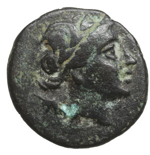 obverse: KINGS OF BITHYNIA. Prusias I Chloros, circa 230-182 BC. 3.70 gr. – 15.8 mm. O:\ Laureate head of Apollo right, with quiver over his shoulder. R:\ BAΣIΛEΩΣ ΠPOUΣIOY Bow and quiver. RG 17. SNG Copenhagen 628-9. SNG von Aulock 25. aXF