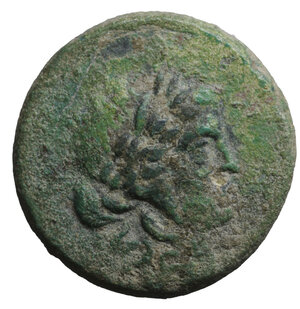 obverse: Cilicia. Hierapolis-Kastabala. 1st Century BC. Bronze. 20.7 mm - 6.80 gr. O:\ Wreathed bust of Dionysos. R:\ IEΡOΠOΛITΩN Zeus enthroned left with Nike and sceptre. SNG 2224 var. Rare. VF\XF