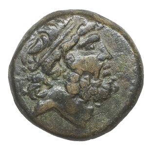 obverse: CILICIA. Elaiousa-Sebaste. 150-50 BC. Bronze 8.15 gr. – 19.5 mm. O:\ EP. Head of Zeus right, wearing taenia. R:\ EΛΑΙΟVΣΙΩΝ. Nike advancing left, holding wreath; two monograms to outer left. SNG France 1155. XF