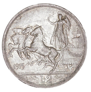 reverse: Regno d Italia. Vittorio Emanuele III. 2 Lire 1915. SPL+