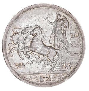 reverse: Regno d Italia. Vittorio Emanuele III. 2 Lire 1914. SPL+