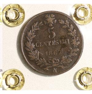 reverse: Vittorio Emanuele II. 5 cent 1867 BB