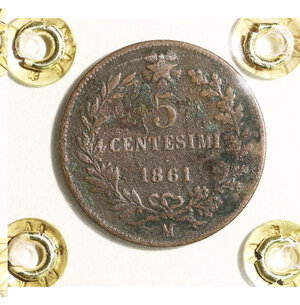 reverse: VITTORIO EMANUELE II. 5 CENTESIMI 1861 MILANO. BB