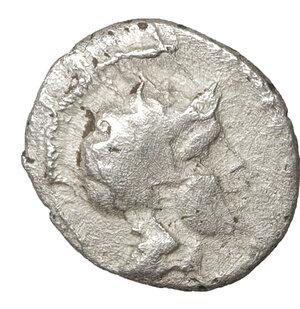 obverse: CILICIA. Soloi. Circa 410-375 BC. Obol. 9,4 mm - 0.50 gr. - 1h. O:\ Helmeted head of Athena right. R:\ Grape cluster. SNG BN 187. aXF