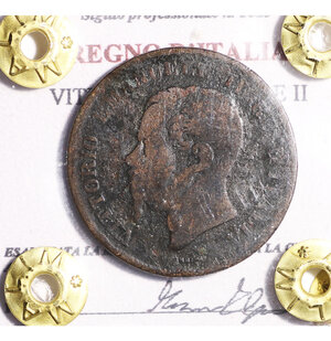 obverse: VITTORIO EMANUELE II. 5 CENT 1862. BB
