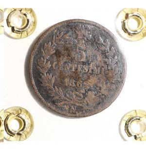reverse: VITTORIO EMANUELE II. 5 CENT 1862. BB