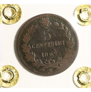reverse: VITTORIO EMANUELE II. 5 cent 1862 N. BB