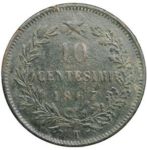 reverse: Vittorio Emanuele II. 10 Centesimi 1867 T. BB. Periziato