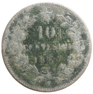 reverse: Vittorio Emanuele II. 10 Centesimi 1867 T. MB. Periziato