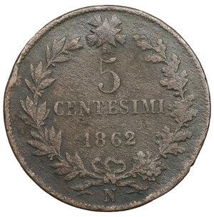 reverse: Vittorio Emanuele II. 5 Centesimi 1862 N. MB. Periziato