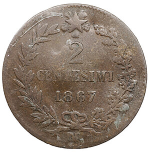 reverse: Vittorio Emanuele II. 2 Centesimi 1867 M. MB. Periziato