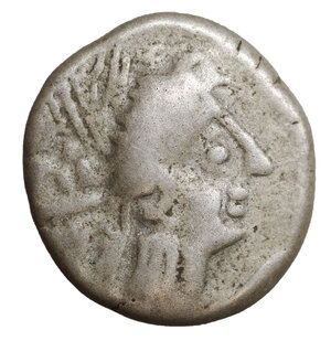 obverse: CELTIC, Southern Gaul. Insubres . 2nd century BC. AR Drachm. 3.00 gr. – 15.1 mm. Imitating Massalia. O:\ Head of nymph right. R:\ Lion right; pseudo-legend above. CCCBM II S23. aXF