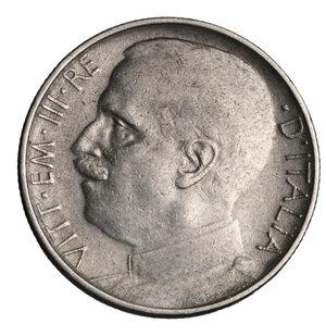 obverse: VITTORIO EMANUELE III°. 50 CENT 1925 RIGATO BB/SPL. PERIZIATA