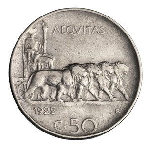 reverse: VITTORIO EMANUELE III°. 50 CENT 1925 RIGATO BB/SPL. PERIZIATA
