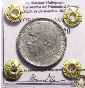 obverse: VITTORIO EMANUELE III. 50 CENT 1920 RIGATO BB+. PERIZIATA