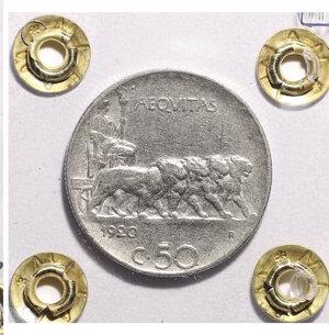 reverse: VITTORIO EMANUELE III. 50 CENT 1920 RIGATO BB+. PERIZIATA