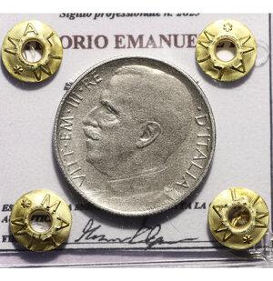 obverse: VITTORIO EMANUELE III. 50 CENT 1925 RIGATO BB. PERIZIATA