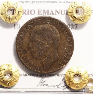 obverse: VITTORIO EMANUELE III°. 10 CENTESIMI 1927. BB+. PERIZIATA