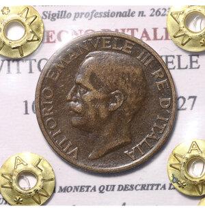 obverse: VITTORIO EMANUELE III. 10 CENTESIMI 1927. SPL/FDC. PERIZIATA