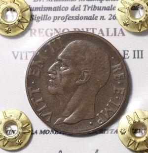 obverse: VITTORIO EMANUELE III. 10  CENTESIMI 1939. SPL/FDC. PERIZIATA