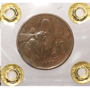 reverse: VITTORIO EMANUELE III. 10 cent 1929 bb/spl