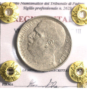 obverse: VITTORIO EMANUELE III. 50 CENT 1925 RIGATO QSPL