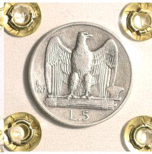 reverse: VITTORIO EMANUELE III. 5 LIRE 1927 SPL