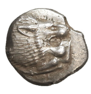 obverse: Ionia, Miletos. 510-494 BC. AR Diobol. Silver 1.30 gr. – 10,5 mm. O:\ Forepart of lion r., head turned back. R:\ Stellate design within square incuse. SNG Kayhan 476-482. UNC