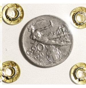 reverse: VITTORIO EMANUELE III. 20 CENT 1921 SPL+