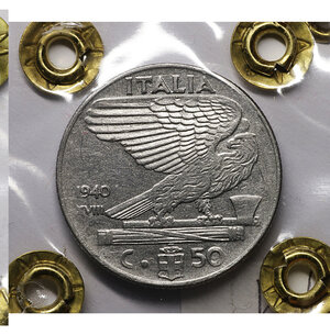 reverse: Vittorio Emanuele III. 50 Cent 1940 AN XVIII. SPL. PERIZIATA