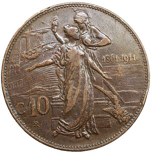reverse: Vittorio Emanuele III. 10 Centesimi. 1911. BB+. Periziata