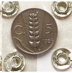 reverse: Vittorio Emanuele III. 5 Cent. 1926. SPL+ PERIZIATA