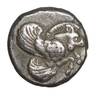 obverse: IONIA, Klazomenai. Circa 499-494 BC. AR Diobol. 1.13 gr. - 9.0 mm. O:\ Forepart of winged boar right. R:\ Quadripartite incuse square. SNG München 451; SNG Kayhan 334; SNG Copenhagen 6. XF