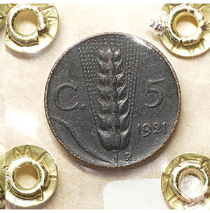 reverse: Vittorio Emanuele III. 5 Cent. 1921. BB. PERIZIATA