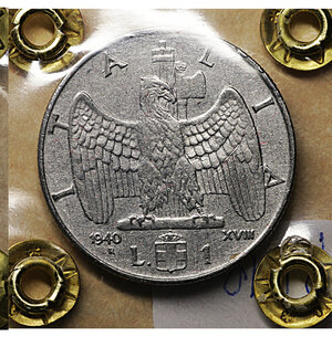 reverse: Vittorio Emanuele III. 1 Lira Impero 1940. BB. Periziata