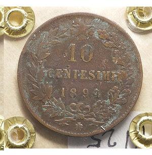 reverse: Umberto I. 10 centesimi. 1894. BB