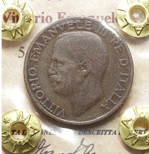 obverse: Vittorio Emanuele III. 5 Centesimi 1924. BB+. Periziata