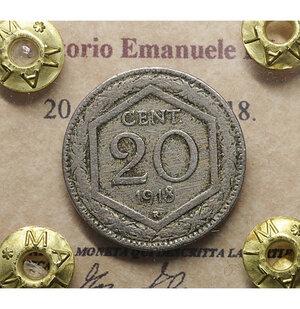 obverse: Vittorio Emanuele III. 20 Centesimi 1918. BB. Periziata