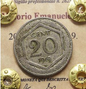 obverse: Vittorio Emanuele III. 20 Centesimi 1919. BB. Periziata