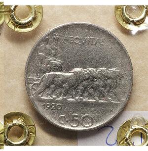 reverse: Vittorio Emanuele III. 50 Centesimi 1920. BB+. Rigato. Periziata