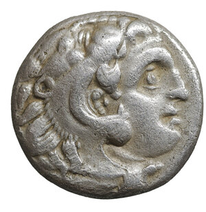 obverse: KINGS OF MACEDON. Alexander III the Great (336-323). Drachm. Lifetime issue. 4.10 gr. – 15.2 mm. O:\ Head of Herakles right, wearing lion skin. R:\ AΛEΞANΔPOY. Zeus Aëtophoros seated left; in left field H Price 2000 var. VF\XF