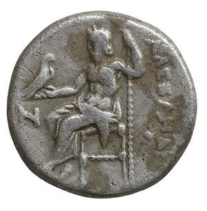 reverse: KINGS OF MACEDON. Alexander III the Great (336-323). Drachm. Lifetime issue. 4.10 gr. – 15.2 mm. O:\ Head of Herakles right, wearing lion skin. R:\ AΛEΞANΔPOY. Zeus Aëtophoros seated left; in left field H Price 2000 var. VF\XF