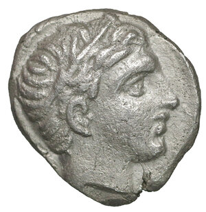 obverse: Kings of Macedon. Amphipolis. Philip III Arrhidaeus 323-317 BC. In the name and types of Philip II of Macedon. Tetrobol. AR 13 mm - 2,52 gr. O:\ Head of Apollo right, wearing tainia. R:\ ΦΙΛΙΠΠΟΥ, rider on horseback right, below, ear of grain. Le Rider 26, pl. 46; ANS 711; NS 21/379, pl. 15. XF\UNC