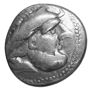 obverse: Celts in Eastern Europe AR Tetradrachm. Kugelwange Type. Circa 3rd century BC. 11.32 gr. – 23 mm, 3h. O:\ Celticised, laureate and bearded head to right. R:\ Horse prancing to left; pellet-in-annulet above. Lanz 464-5; OTA pl. 17, 193/1-2; LT 9815; Pink 196-8. aXF